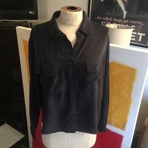Dark navy cropped Equipment silk blouse